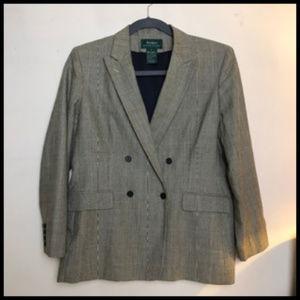 Tweed Double Breasted Silk Wool Linen Blazer